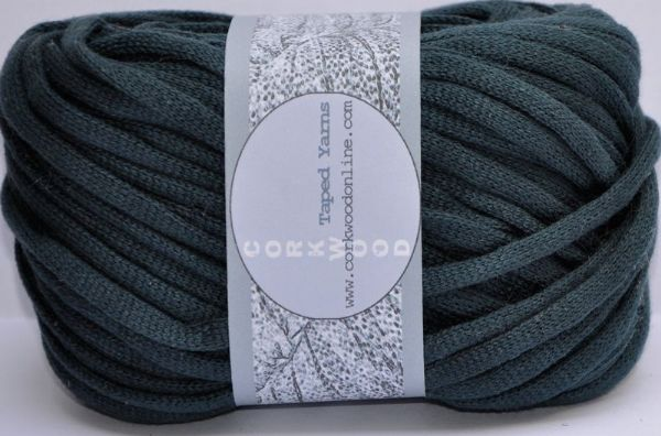 petrol green cotton Chunky Tape yarn for knitting weaving and embellishing